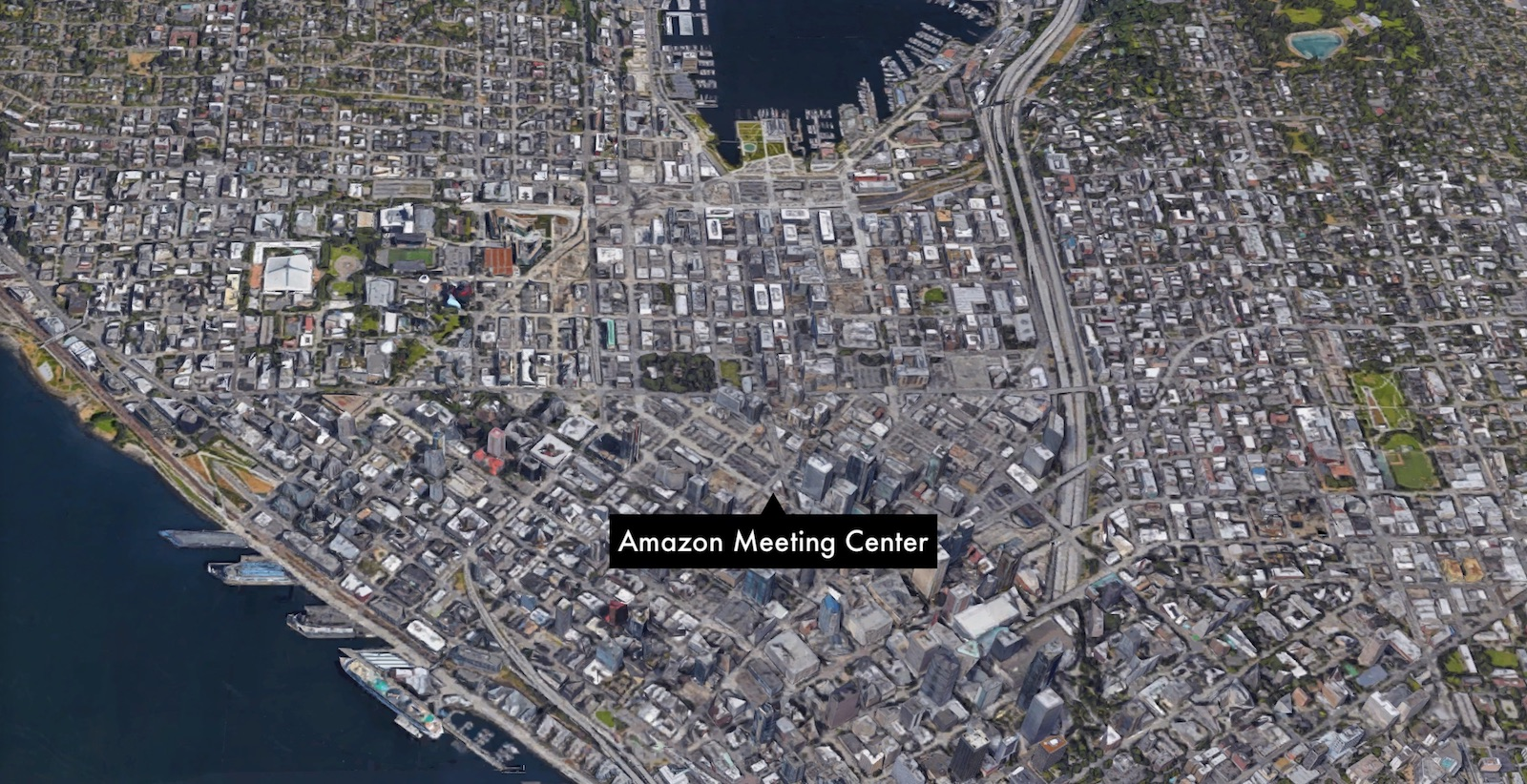 map of Seattle and location of Amazon Meeting Center